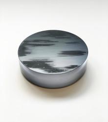 2021 Solid glass and black Japanese lacquer Ø25,5 x 7,5 cm Unique piece