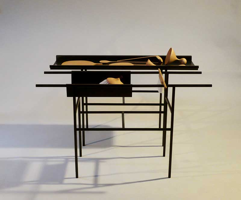 Installation; two metal tables with warious wooden objects 120 x 39 x 72 cm (each table) Unique piece