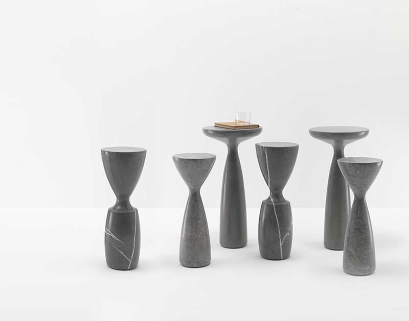 2012  Set of 3 tables made of different Italian stones  Stone Grey / Pierre Grise / Grey Peacock  Diameters 19,5/20,5/29,5 cm  Heights : 50/54/60 cm  Limited edition of 20 sets