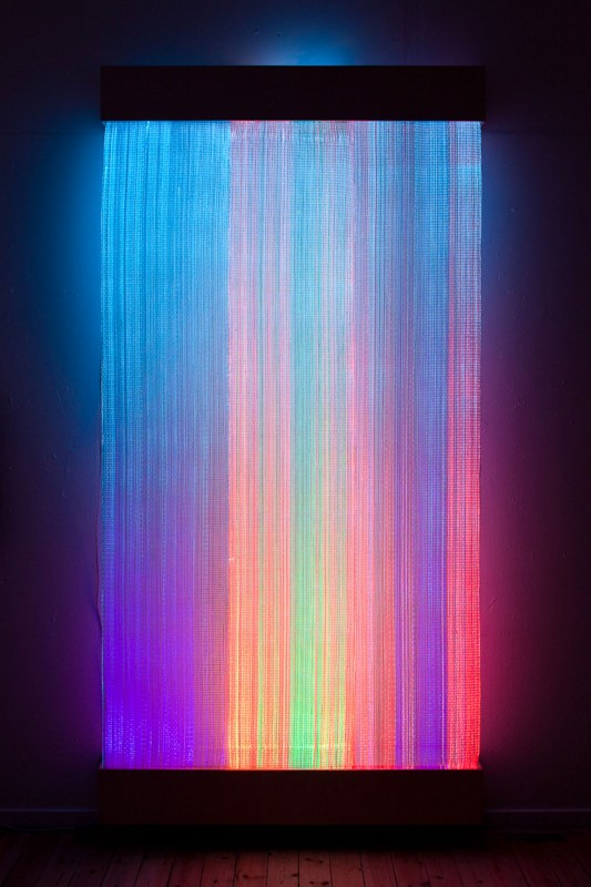 2011 Weavings in optic fibres and paper yarn, light monitors  Dimensions:  150 x 250 cm  200 x 250 cm  250 x 250 cm