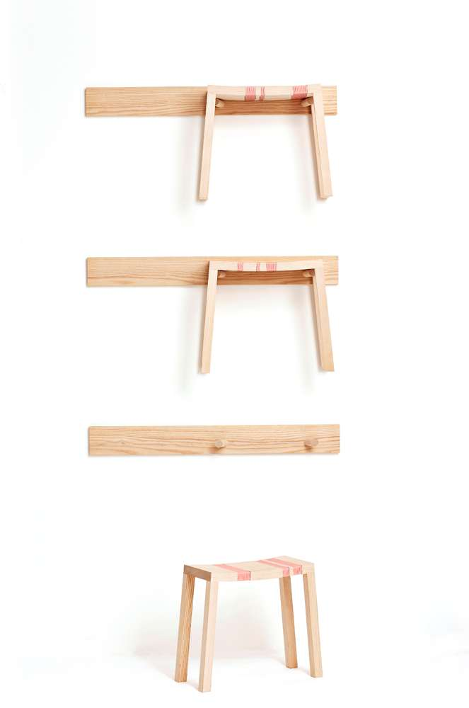 2006  Three stools with racks Ash and plastic string  Stool: 40 x 20 x 40 (h) cm / Rack: 92 x 10 x 1,5 cm  Limited edition of 8 + 4 AP signed by the artist