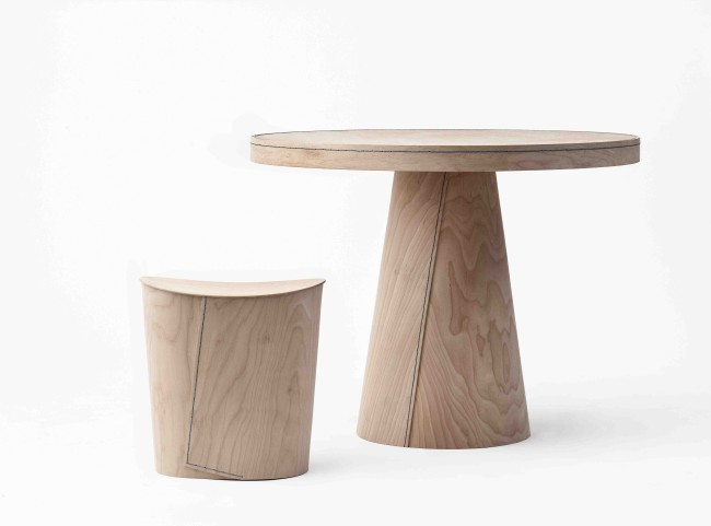 Table and stool Maple, wax string Table: 90 x 70 cm Stool: 42,5 x 39 x 29 cm Limited edition of 20
