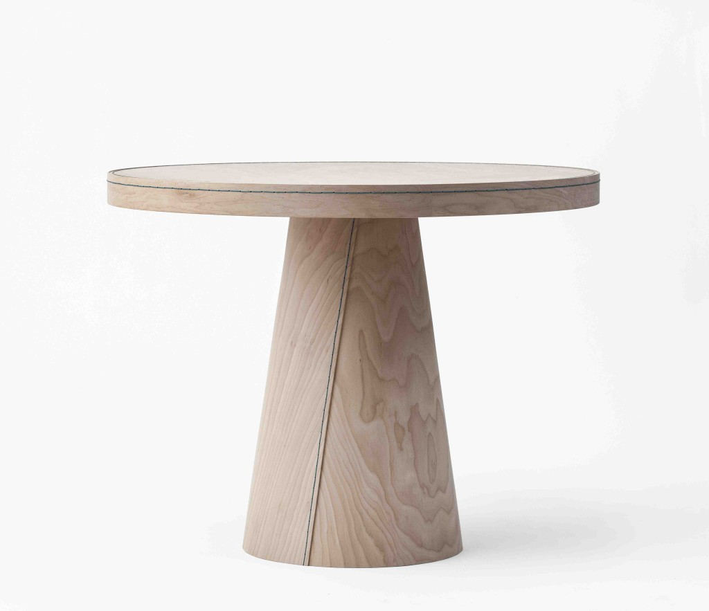 2009 Table and stool Maple, wax string Table: 90 x 70 cm Stool: 42,5 x 39 x 29 cm Limited edition of 20