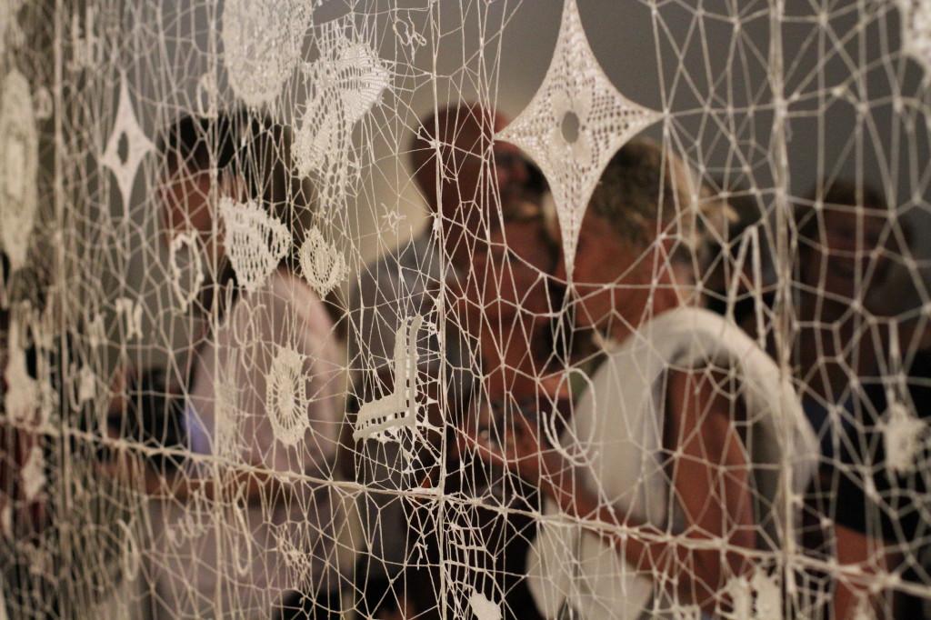 2011 Network, cotton-thread, crochet laces, flax fibers 350 x 235 cm Unique piece