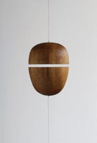 2014 Solid oak, leash, magnets 22 x 17,5 x 11,5 cm + adjustable strings Unique piece