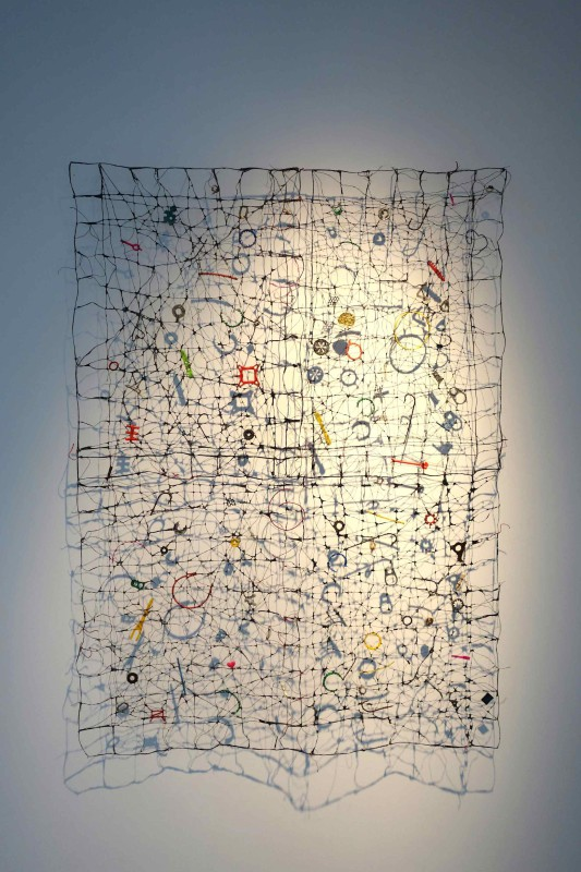 2006 78 x 107 cm Linen thread crochet, paper mache, found objects Unique piece