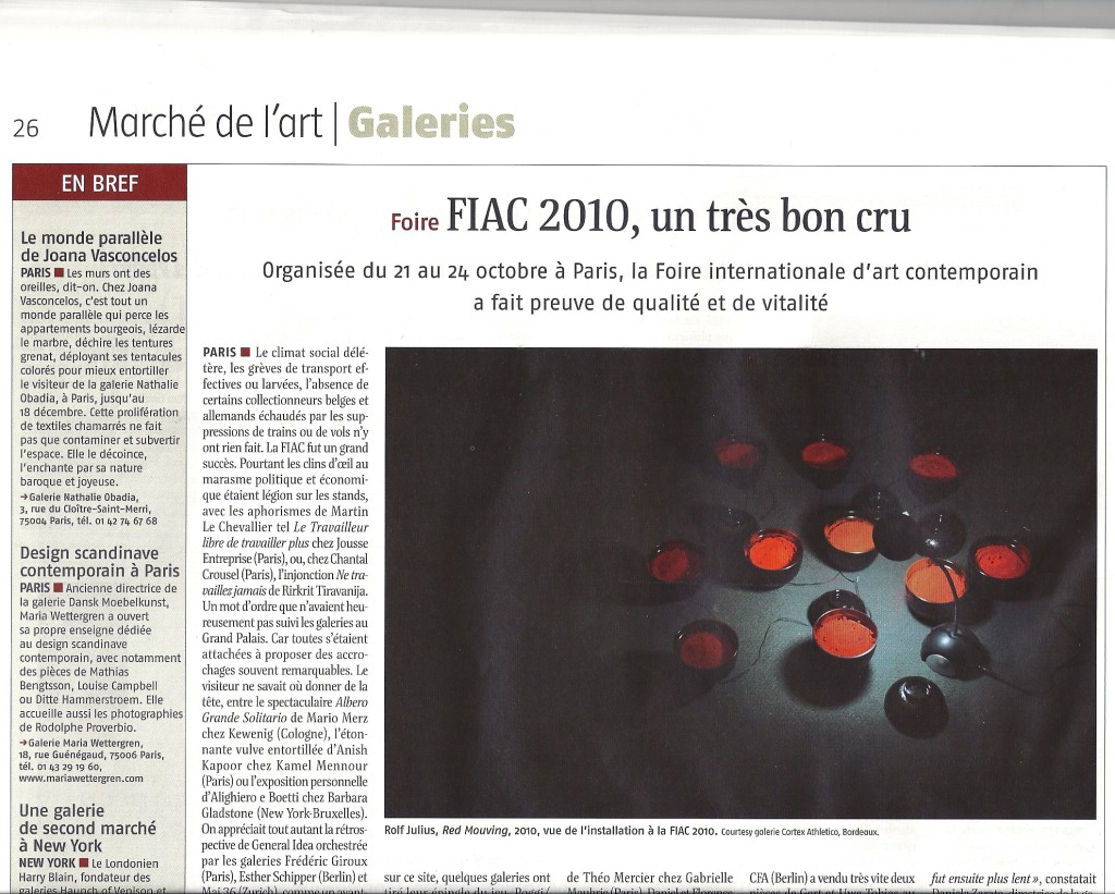 Journal des arts article novembre