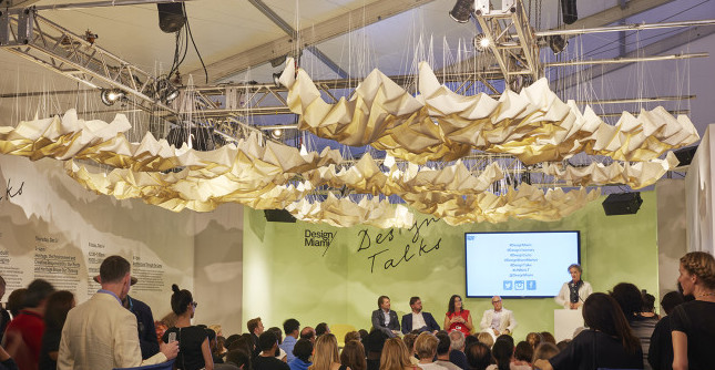 Cecilie Bendixen Draped Nimbostratus, 2015 View of the hanging installation over the Design Talk area