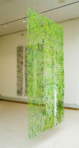 2006  Network/ tapestry.  Linen thread, dyed beard lichen.