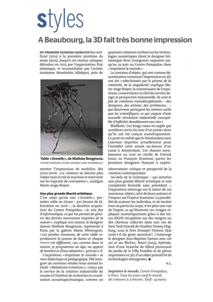 Le Monde : April 13rd