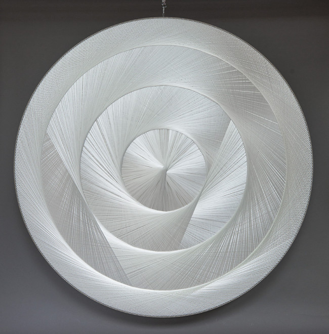 2017 Sound absorbing sculpture Polyester threads, wood, textile, glass wool Diameter: 200 cm / Depth: 9,5 cm Unique