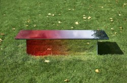 Table / Bench 60 x 180 x 40 cm Hardened laminated glass mirror with graduation from 100% mirror to 100% red glass Limited edition of 8 pieces