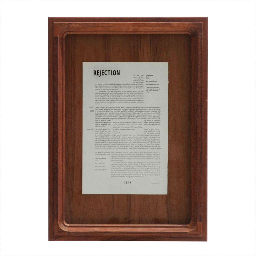 2012 Rejection Framed text 68 x 48 x 5 cm