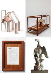 2010 Artwork ; Two teak vitrines ; Framed text ; Diasec print