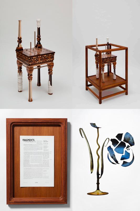 2009 Artwork ; Teak vitrine ; Framed text ; Diasec print
