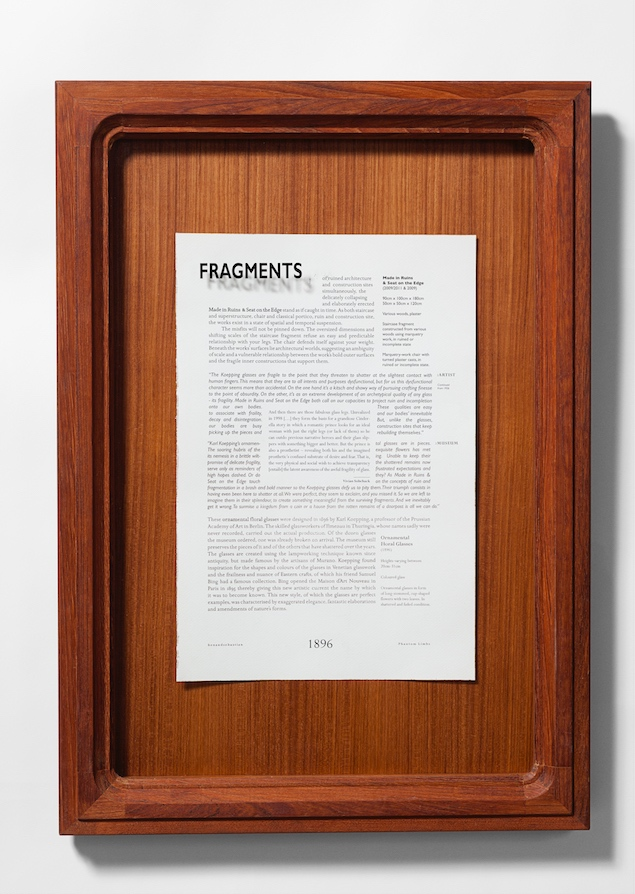 2009 Fragments Framed text 68 x 48 x 5 cm