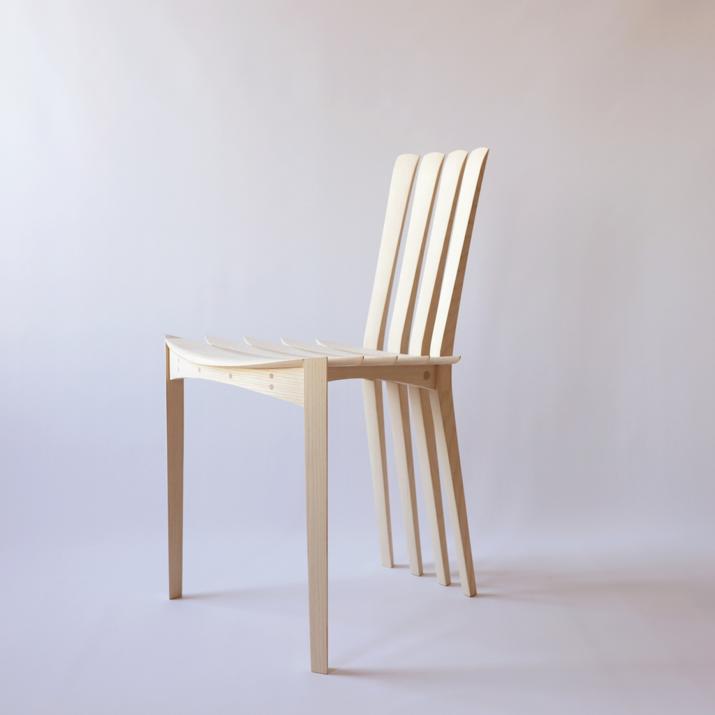 Bloom, 2018 Sculptural chair in ash Made by Egevaerk 80 x 50 x 45 cm Limited edition of 20