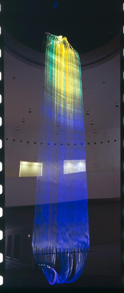 2012 Weaving in optic fibers, light monitors. Unique piece made for the 21c Museum, Cincinatti USA