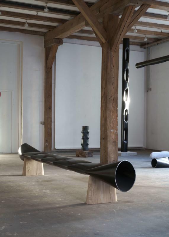 Faba, 2018, Bench, Steel tube, Oak, 380 x 45 x 55 cm