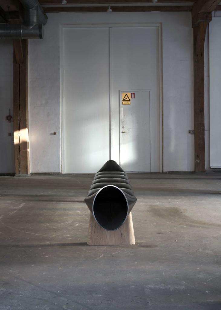 Faba I, 2018, Bench, Steel tube, Oak, 380 x 45 x 55 cm