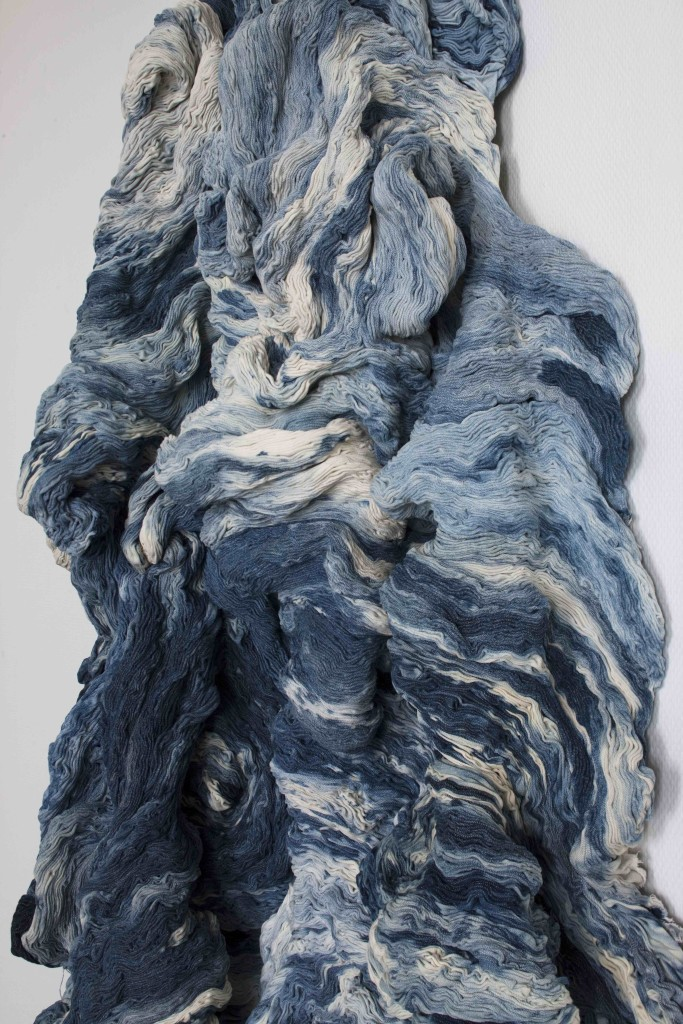 2009 Partially bleached denim, sewn by hand 184 x 98 x 26 cm