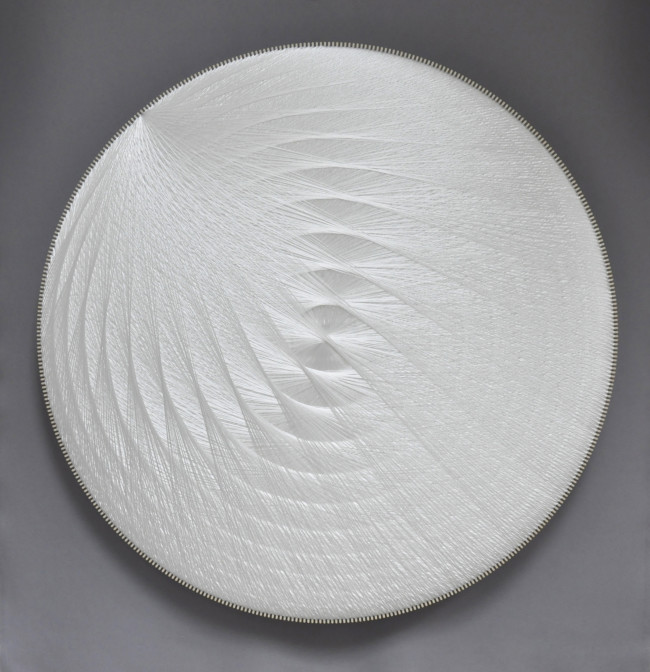 2019 Polyester thread, birchwood, polyester textile, glass wool 120 x 120 cm Unique piece