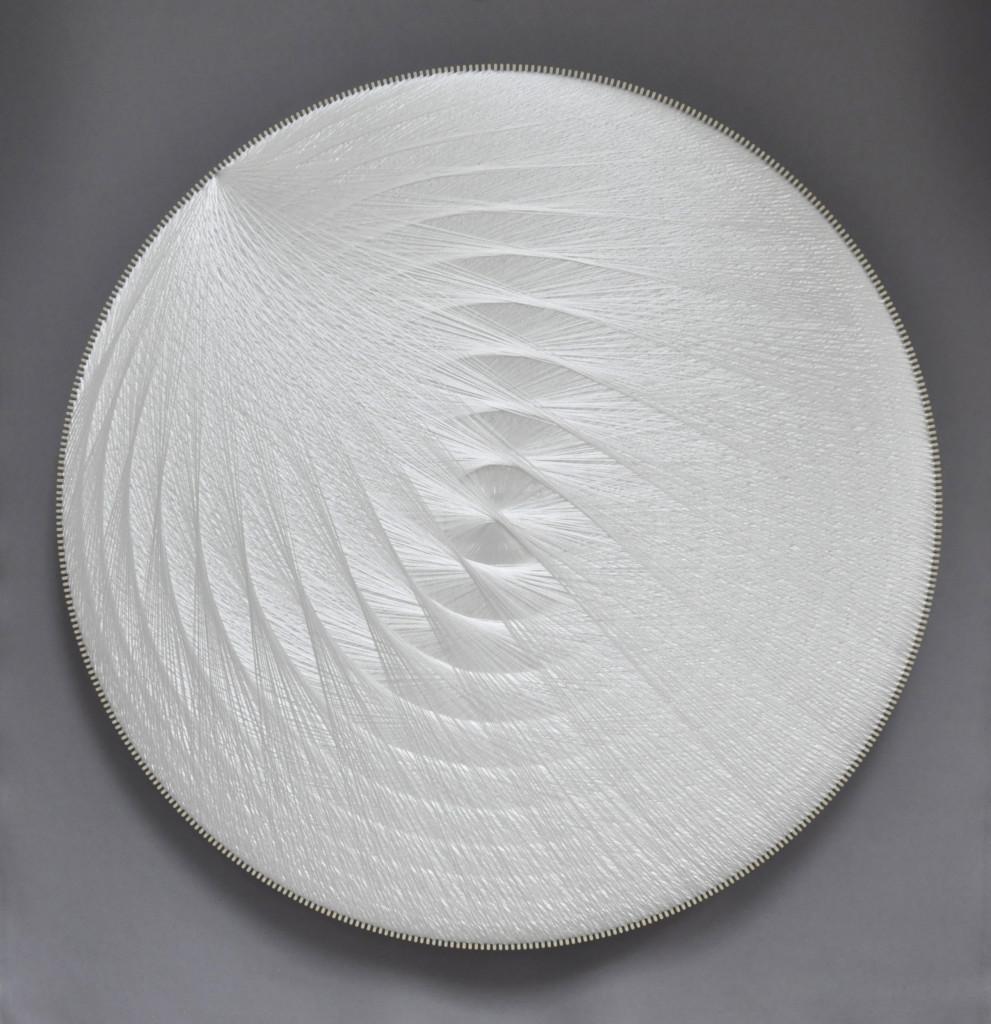 2019 Polyester thread, birchwood, polyester textile, glass wool 120 x 120 cm Unique piece