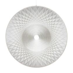 Thread sculpture, sound-absorbing Polyester, thread, wood, glass fiber Diameter: 200 cm Depth: 5 cm Unique piece
