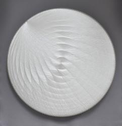 Thread sculpture, sound-absorbing Polyester thread, birchwood, polyester textile, glass wool 120 cm Unique piece