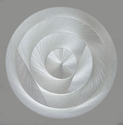 Thread sculpture, sound-absorbing Polyester thread, birchwood, polyester textile, glass wool Diameter 200 cm Unique piece