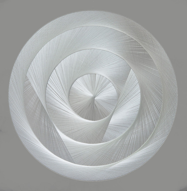 Thread sculpture, sound-absorbing Polyester thread, birchwood, polyester textile, glass wool Diameter 200 cm Unique piece
