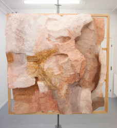 Acrylic, polystyrene, pigments from crushed stone and wood 200 x 200 x 45 cm Unique Piece