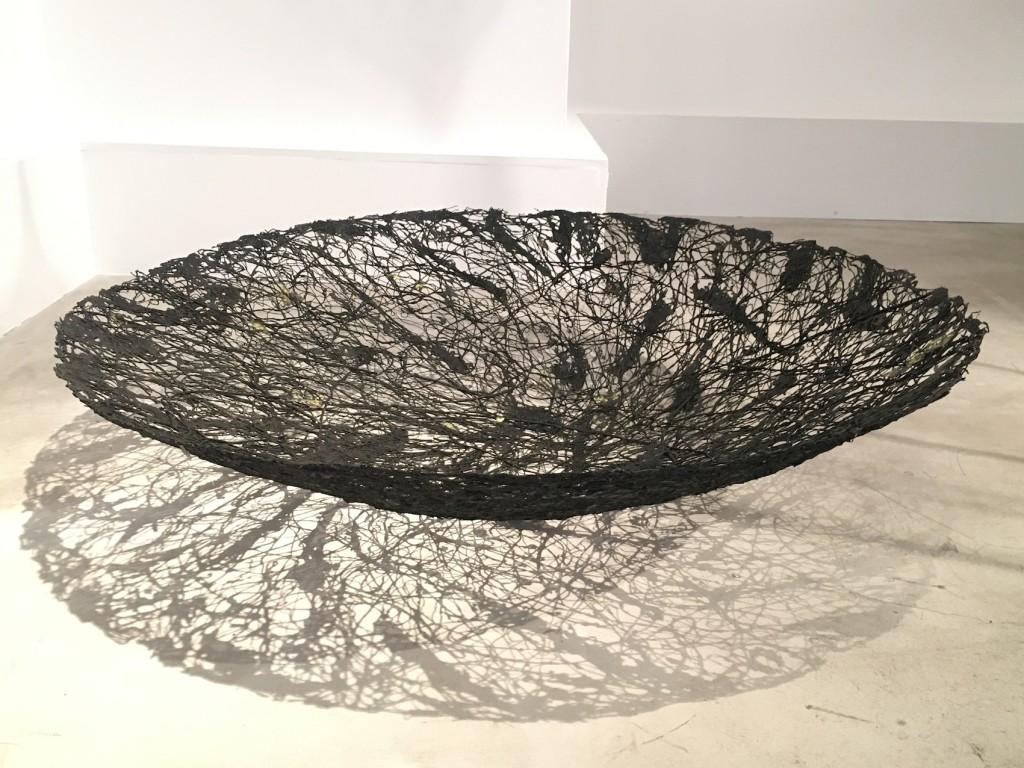 Twigs, thread, paper pulp D 120 x H 30 cm Unique piece